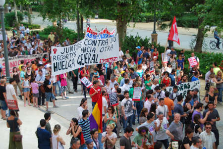 spaniards: SEVILLE, SPAIN � MAY 12: Thousands of Spaniards angered by their grim economic prospects and political handling of the international financial crisis in Seville on May 12, 2012 Editorial