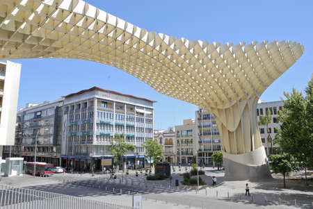 polyurethane: SEVILLE,SPAIN - MAY 9: Metropol Parasol in Plaza de la Encarnacion on May 9, 2012 in Seville,Spain. J. Mayer H. architects, it is made from bonded timber with a polyurethane coating