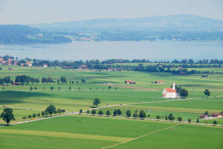 schwangau: Aerial view of Schwangau from Neuschwanstein castle, Germany