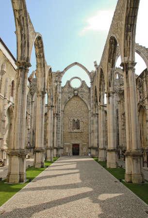 Carmo Church ruins in Lisbon, Portugal photo