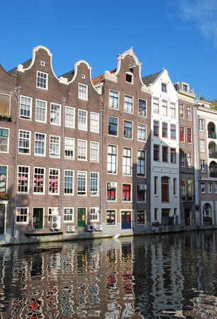 nice accommodations: Typical houses in Amsterdam  Netherlands  Stock Photo