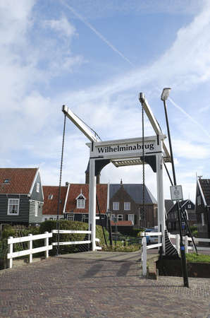marken: Wilhelmina bridge in Marken, Netherlands Stock Photo