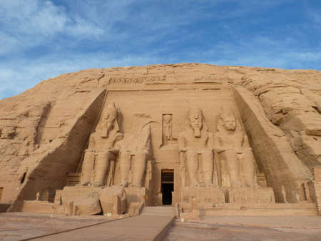 enthroned: Abu Simbel temples, Egypt - Africa Stock Photo