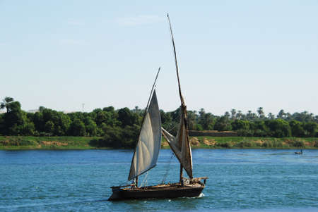 furled: Felucca on the Nile river in Egypt