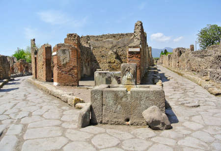 A fork in the road at Pompeii  Italy    photo