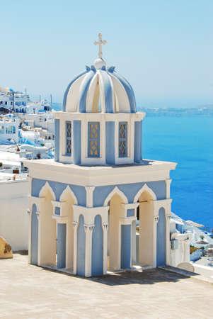 firostefani: Bell tower in Firostefani  Santorini island - Greece