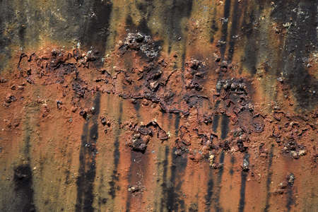 Rust on the surface of metal sheet , corrosion of steel