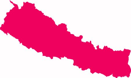 Beautiful Nepal Country new map in pink color with white smooth background