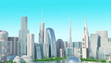 futuristic: futuristic 3d cityscape