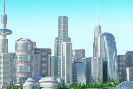 futuristic 3d cityscape