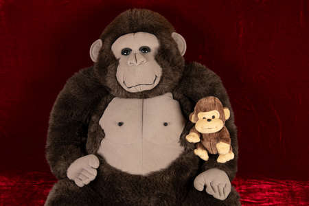 Gorilla father and chimpanzee son (plush monkey family)