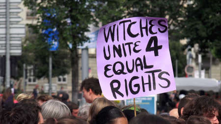 Witches unit 4 equal rights. Slogan brandished at the feminist strike.