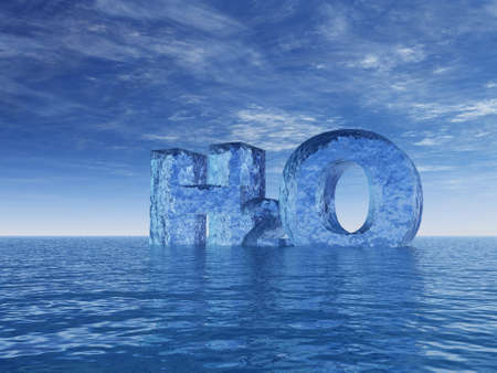 indication: chemistry symbol for water - h2o - letters at the ocean - 3d illustration