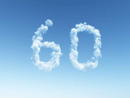 null: clouds makes the shape of number sixty - 60 - 3d illustration