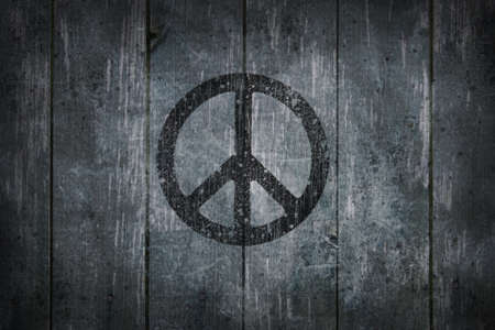 pacifist: pacific symbol on wooden background - 3d illustration