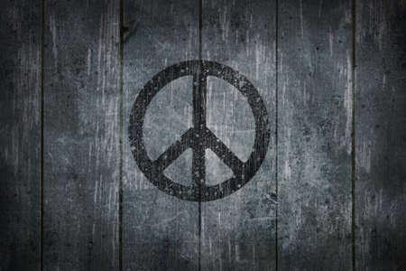 symbol peace: s�mbolo Pac�fico en la ilustraci�n de fondo de madera - 3d Foto de archivo