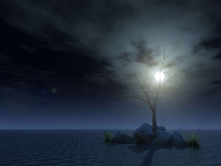 dismal: dead tree at night - 3d illustration
