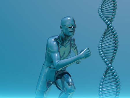 dns: DNA strands and running man  - 3d illustration Stock Photo