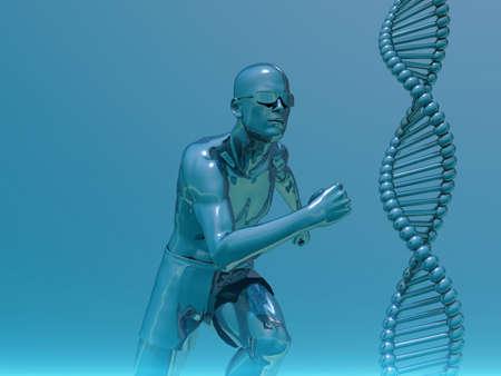 clonacion: Hebras de ADN y running man - 3d ilustración