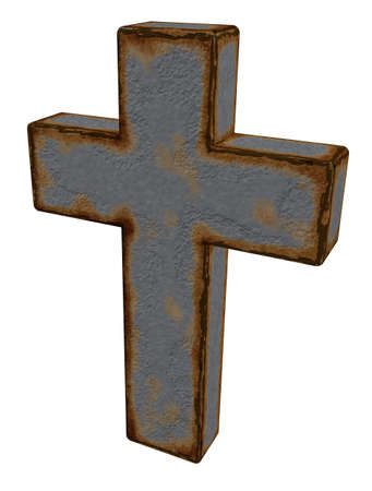 rusty christian cross on white background - 3d illustration