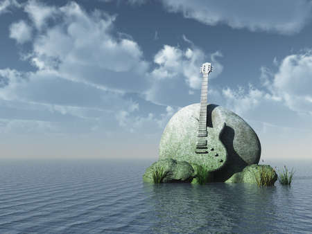 sea bass: guitar monument under blue sky - 3d illustration