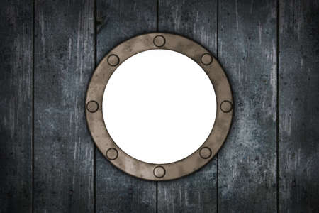 wound: porthole in wooden wound - 3d illustration Stock Photo