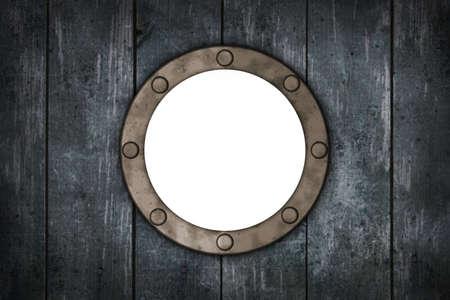 porthole: porthole in wooden wound - 3d illustration Stock Photo