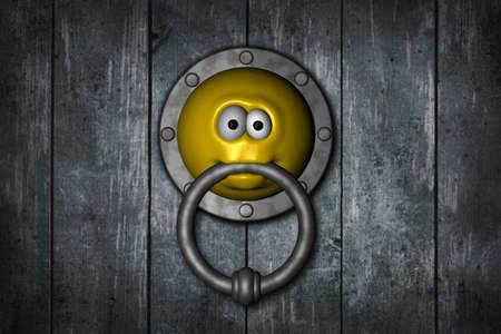 smiley doorknocker on wooden grunge background - 3d illustration illustration