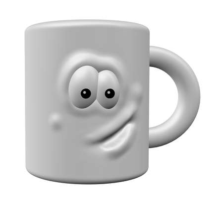 mug with comic face on white background - 3d illustration Stock Illustration - 9829201