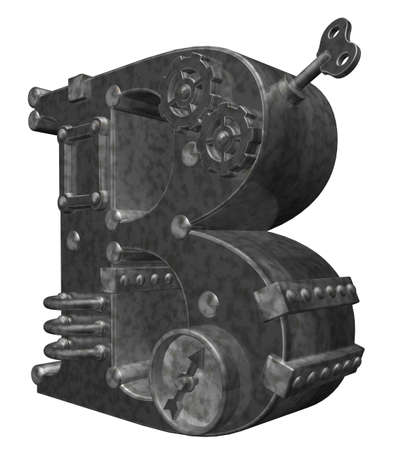 steampunk letter b on white background - 3d illustration illustration