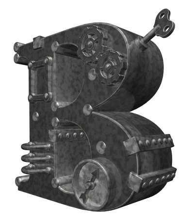 industrial decor: steampunk letter b on white background - 3d illustration