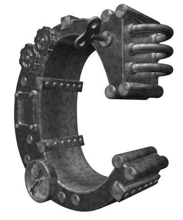 steampunk letter c on white background - 3d illustration illustration