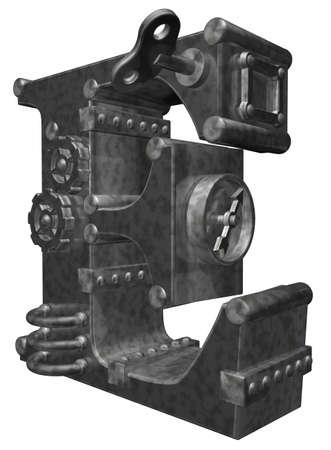 steampunk letter e on white background - 3d illustration illustration