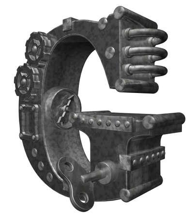 steampunk letter g on white background - 3d illustration Stock fotó