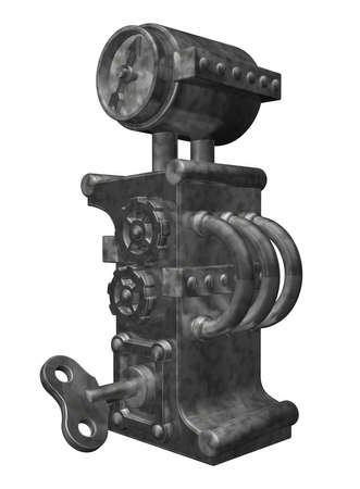 steampunk letter g on white background - 3d illustration illustration