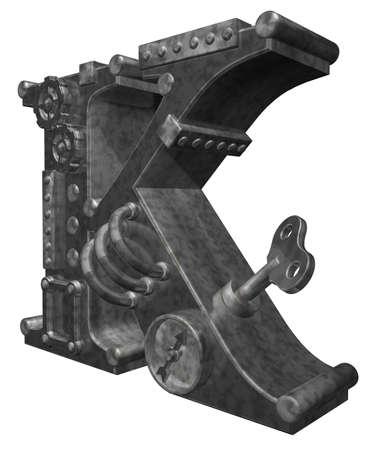 steampunk letter k on white background - 3d illustration illustration
