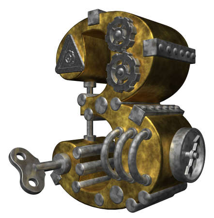 third wheel: steampunk number three on white background - 3d illustration Stock Photo