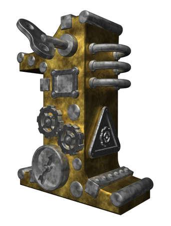num�rico: Steampunk n�mero uno en la ilustraci�n de fondo blanco - 3d