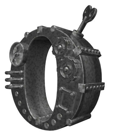 steampunk letter o on white background - 3d illustration illustration