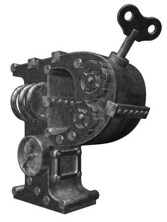 steampunk letter p on white background - 3d illustration illustration