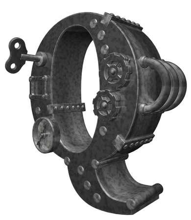 steampunk letter q on white background - 3d illustration illustration