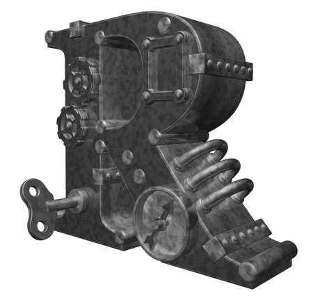 steampunk letter r on white background - 3d illustration illustration