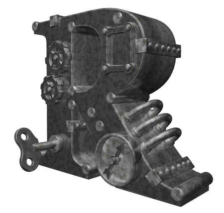 dieselpunk: steampunk letter r on white background - 3d illustration Stock Photo