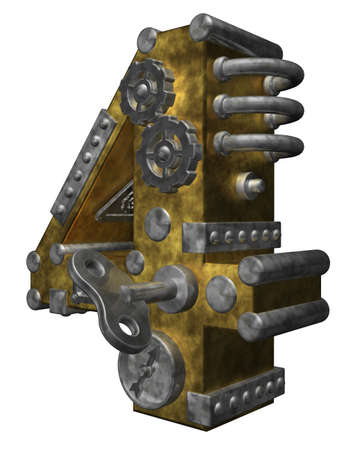 numerical value: steampunk number four on white background - 3d illustration Stock Photo