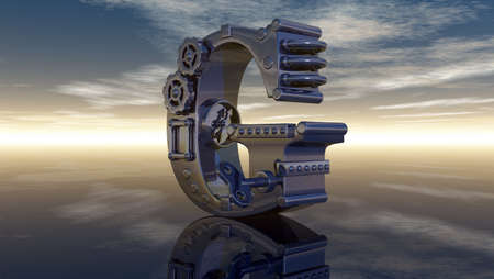 machine letter g under cloudy sky - 3d illustration illustration