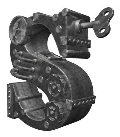 steampunk letter s on white background - 3d illustration