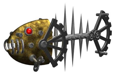 dieselpunk: abstract metal fish bones - 3d illustration