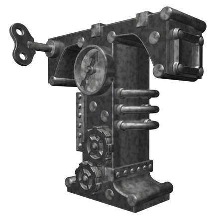 dieselpunk: steampunk letter t on white background - 3d illustration Stock Photo