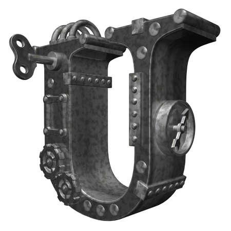 dieselpunk: steampunk letter u on white background - 3d illustration