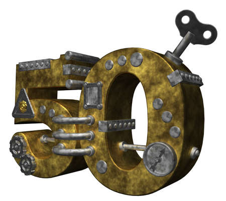 steampunk number fifty on white background - 3d illustration illustration